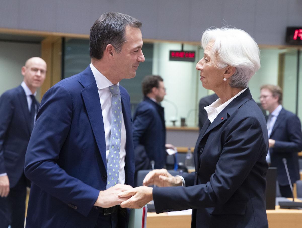 Samen met ECB-voorzitter Christine Lagarde tijdens een bijeenkomst van de Eurogroep, 2019