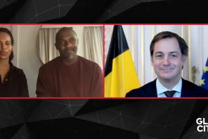 Sommet pour l'adaptation aux changements climatiques : le Premier ministre Alexander De Croo s'entretient avec l'acteur et militante Idris Elba
